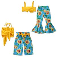 Wholesale outfit clothes online - kids designer clothes girls Floral outfits children Sling tops sunflower pants set Summer fashion Boutique baby Clothing SetsC6719