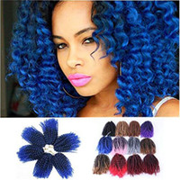 Wholesale ombre curly braiding hair online - Crochet Braids Ombre Braiding Hair Pack Afro Kinky Twist Hair Synthetic Marlybob Curly Crochet Hair Pieces T1B Blue