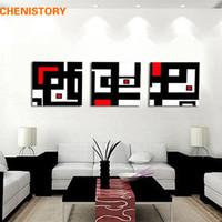 duvar sanatı resimleri soyut siyah kırmızı toptan satış-Çerçevesiz 3 Panel Özet Görüntü Beyaz Kırmızı Ve Ev Dekorasyon için Siyah Geometrik Şekil Wall Art Boyama Baskı Tuval