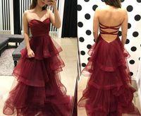 ingrosso vestiti borgogni donna-New Fashion Sweetheart Borgogna Prom Dresses Ruffles Organza Abiti Homecoming Lungo Sexy Criss Cross Back Womens Party Gown