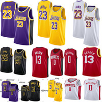 camisa 23 venda por atacado-NCAA Mens James 23 Jérsei LeBron Anthony 3 Davis Russell 0 Westbrook Jimmy 21 Jérsei 13 Harden Camisas De Basquete Universitário