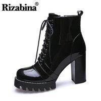 dicke stiefel ritter großhandel-RIZABINA Ankle Knight Stiefel Thick Platform Echtes Echtes Leder Thick Heel Cross Strap Wintermode Warme Fell Schuhgröße 35-41
