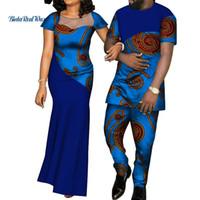 conjuntos de ropa par al por mayor-Vestidos africanos para mujer Bazin para hombre camisa y pantalón conjuntos amante de las parejas ropa de impresión de hilados vestido de diseño africano ropa WYQ126