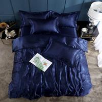 king duvet cover seda azul venda por atacado-2/3/4 pcs Estilo Americano Conjunto De Cama De Seda Rei Queen Size Cetim Azul escuro Capa de Edredão Cor Sólida Conjunto Simples Bonito Roupas de Cama