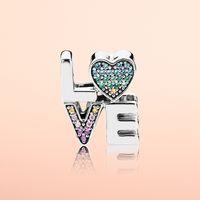 ingrosso braccialetto delle lettere dei monili-Autentico argento 925 colore cristallo LOVE lettere Charms scatola originale per Pandora Beads Charms Bracciale creazione di gioielli