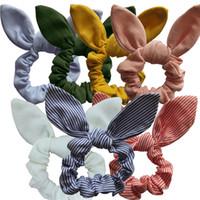 ingrosso fiori di tessuto per archi da capelli-Fascia per capelli dell'orecchio della ragazza Cute Flower Printed Rabbit Ears Anello della ragazza Donne Plaid Hairband Tessuto di cotone per bambini Arco avvolgere la testa GGA2280