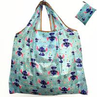katlanabilir çantayı geri dönüştür toptan satış-Katlanabilir Geri Dönüşüm Alışveriş Çantası Kadınlar Seyahat Omuz Bakkal Çantaları Eko Yeniden kullanılabilir Çiçek Meyve Sebze Depolama Bez Çanta