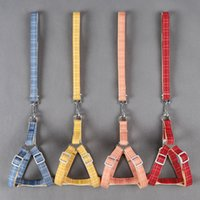 Wholesale yellow leash for sale - Group buy Cotton Doggy Traction Rope Double Color Lattice Pattern Dogs Leash Yellow Red Blue Dog Chest Strap tt3 L1
