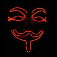 Wholesale v for vendetta mask plastic for sale - Group buy New Item Classic V For Vendetta Cold Light Mask Cosplay EL Illuminate Halloween Prop Facepiece Simple Portable Creative DIY Hot Sale X30