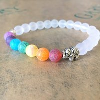 Wholesale frost beads for sale - Group buy 8MM White Frosted Matte Beads Elephant Friendship Bracelet Handmade Colour Chakra String Energy Yoga Buddha Beads Hand Chain Jewelry Gift