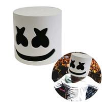 satış kaskları toptan satış-DJ Hatmi Maskesi Moda Cadılar Bayramı Partisi Gece Kulübü EVA Beyaz Maske Yetişkin Cosplay Kostüm Kask Satış