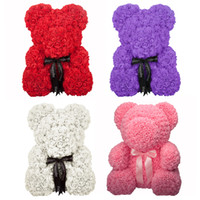 teddy rosa zum geburtstag großhandel-Künstliche Blumen Rose Bär Kunststoff-Schaum-Weiß, Lila, Rot-Rosa-Teddybär Valentinstag-Geschenk-Geburtstags-Party-Dekor-J190707