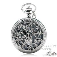 colar de relógio de bolso antigo de prata venda por atacado-Atacado- Gracioso Sereia Padrão de prata antigo relógio de bolso de quartzo com corrente 2016 mais recente colar de design para as mulheres