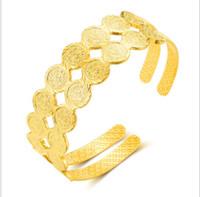 pulseira de bronze banhado a ouro venda por atacado-Médio Oriente Jóias Latão banhado a ouro Double-row Open Bracelet Woman