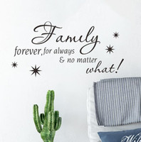 Wholesale english quote stickers resale online - English quote wall stickers family forever living room bedroom decoration stickers can be removed waterproof creative fashion home pop