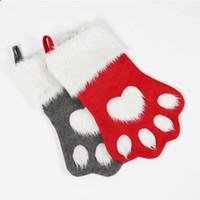 ingrosso calzini da cane neri-Calze Natalizie Calze Calze Peluche Dog Claw Shape Calze Calze rosse e nere Decorazione natalizia per la casa Regalo per bambini