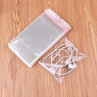 colar bolsas de plástico venda por atacado-Sacos de Embalagem de jóias Atacado 200 pçs / lote 10x12 cm Limpar Plástico Selo Adesiva Saco Bolsas Colar de Jóias Encantos Saco de Presente