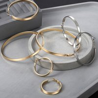 Wholesale flat hoop earrings resale online - 3pairs mm Flat Hoop Earrings for Women Silver Gold Filled Polished Round Circle Hoops Earrings Gift Diameter mm LGEM24