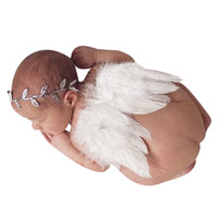 Wholesale photographs clothing for sale - Group buy Baby Newborn Angle Feather Wing And Olive Branch Headband Photograph Prop Suit Infant Clothes Suit Baby photography props wings