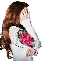 ingrosso maglia grandi fiori-Autunno Inverno Russia Cina Stile Donne Mohair Maglione Allentato Big Size Rose Fiori Ricamo Knit Pullover Oblique Collare Pizzo Hollow Carino