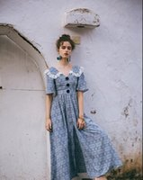 Wholesale sexy women france for sale - Group buy 2020 A Line Sexy Vintage France Chic Boho Long Dress Lacehwork V neck Sexy Split High Waist Bohemian Beach Vestidos Women Dresses Summer