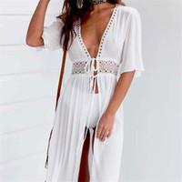 cobertores de biquíni branco venda por atacado-Senhoras Sexy Mulheres Bikini Cover Up Praia Vestido Branco Swimwear Beachwear Maiô Verão Vestido Xxxl roupas de grife