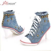 denim tênis alto salto venda por atacado-Mulheres Sapatos de Lona Denim Sapatos de Salto Alto Rebites Sapatos Laços Sapatilhas Mulheres Curto