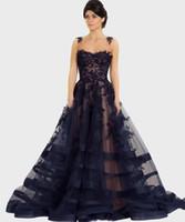 Wholesale vestidos de fiesta online - Dark Navy Prom Dresses Long vestidos de fiesta Beaded Lace Evening Gowns robes de soiree Women Celebrity Formal Dress Party Gown