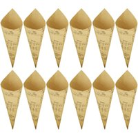 Wholesale tape kraft resale online - Free shiping Retro Kraft Paper Cones Bouquet Candy Chocolate Bags Boxes Wedding Party Gifts Packing with Tape Note Style