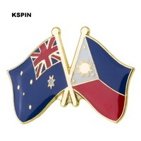 Wholesale clothing labels resale online - Australia Philippine Friendship Flag Label Pin Metal Badge Badges Icon Bag Decoration Buttons Brooch for Clothes XY0280