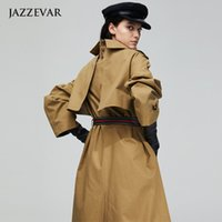 casaco de trincheira de dobro duplo venda por atacado-cinza cáqui amarelo longo trench coat mulheres double longo casaco solto peito para a mulher casaco feminino 2019