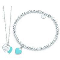 cadena de eslabones de madera al por mayor-DORAPANG verde en forma de corazón pulsera del collar 100% 925 Azul colgante de plata simple para mujeres de la joyería elegante del regalo