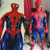 superheld-kostümmuster groihandel-2018 Neue erwachsene Männer Kinder Spiderman Kostüm Zentai Spinne ManSuperheld Muster Bodysuit Anzug JumpsuitsMX190923