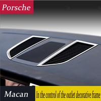 Wholesale interior chrome trim for cars resale online - Car Styling Chrome air conditioning vent frame cover trim interior sequins air outlet panel decorative strip D sticker for Porsche Macan