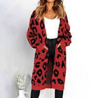 abrigo de manga larga de leopardo al por mayor-Leopardo para mujer con cuello en V suéteres de punto suéter de manga larga estampada otoño moda suelta abrigo de punto