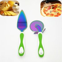 Wholesale knife wheels for sale - Group buy Eco Friendly Stainless Steel Pizza Shovel Knife Cheese Shovel Diameter CM Round Shape knife Pizza Cutter Wheels Baking Kitchen Tools