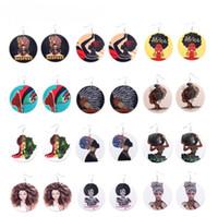 boucles d'oreilles africaines pour les femmes achat en gros de-Nouvelle Arrivée Afro En Bois Boucles D'oreilles Impression Tête Africaine Coloré Goutte En Bois Rond Charme Charme Boucles D'oreilles Pour Les Femmes Lady Bijoux