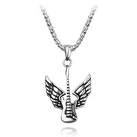 Wholesale fashion guitar pendant resale online - Hip hop Guitar With Wings Pendant Necklace Dream About Music Punk Rock Fashion Jewelry Gift For Male Collar Charm Accessories