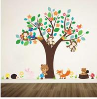 наклейки для детских яслей для лесных животных оптовых-лесные животные обезьяна играть под цветок дерево стикер стены для детей детские детская комната украшения декор главная наклейка