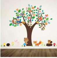 calcomanías de animales de vivero de animales del bosque al por mayor-Bosque animales mono jugar debajo de la flor del árbol etiqueta de la pared para niños bebé guardería sala de niños decoraciones decoración del hogar etiqueta