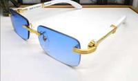 chifres de búfalos venda por atacado-Best-seller Rimless Sunglasses Para Mulheres De Madeira E Natureza Búfalo Chifre Sunglasse Mens Condução Sombra Eyewear Designer Óculos de Sol de Vidro