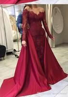 trem removível de vestido vermelho venda por atacado-Sereia vermelha escura Lace longo vestido de noite 2019 com mangas compridas e trem removível mulheres Formal Evening Prom Party Dress Custom Made