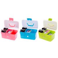 ювелирные изделия ручной работы оптовых-TOP Hand-held Desktop Storage Box Plastic Scissors  Organizer Jewelry Nail Polish Pen Container Manicure Tool Case