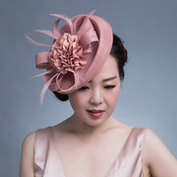 Wholesale women chic hats for sale - Group buy Women Chic Fascinator Hat Cocktail Wedding Party Church Headpiece kentucky Headwear Feather Hair Accessories Sinamay Fascinators