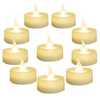 batterie clignotante blanche achat en gros de-SXI Paquet de 24 lampes à thé blanches à piles blanches, bougie chauffe-plat vacillante sans flammes, diamètre 1.4