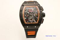 relógio alaranjado dos homens da faixa de borracha venda por atacado-Venda quente Homem 011 relógio Flyback orange rubber band preto case 42mm relógio de máquinas Automáticas