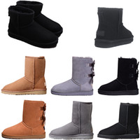 Wholesale nice rubber shoes resale online - New designer shoes winter Australia warm snow Boots nice tall boots HOT SALE Pink Bowknot women s MINI Bailey bow Knee Boots