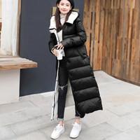 abrigo negro brillante al por mayor-Shiny Women White Duck Down Chaquetas para mujer Abrigo de invierno Mujeres con capucha Warm Loose Outwear 2019 NEW BLACK RED