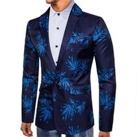 ingrosso abito fiore stampa digitale-Smoking Blu Blazer Fiori rossi Stampa digitale Tuta Abito Stage One Button Camisa masculina Suit Giacche Mens Suit