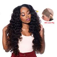 işlenmemiş insan saçlı kıvırcık peruk toptan satış-Gevşek Dalga 360 Tam Dantel İnsan Saç Peruk Siyah Kadınlar Için Kıvırcık İnsan Saç Peruk İşlenmemiş Perulu Bakire Saç Gevşek Dalga Peruk
